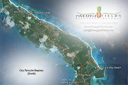 Satellite map shows our favorite beaches south of Pineapple Fields Resort