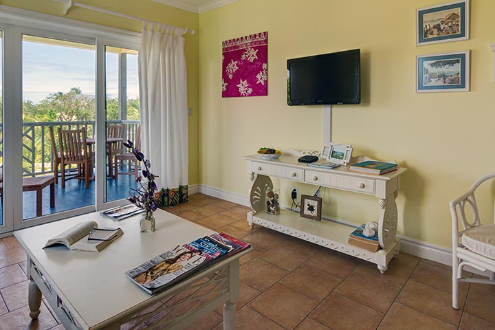 one bedroom condo. Living Area and Outdoor Deck for One Bedroom Condo  Pineapple Fields Resort Eleuthera Bahamas