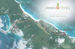 Satellite map shows path from Governor's Harbour to Pineapple Fields Resort